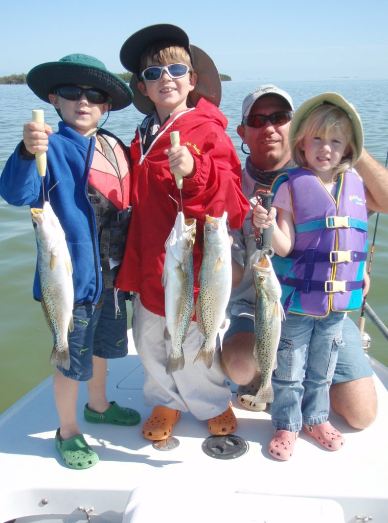 Catching fish - sea trout - kids fishing - tavernier - 2010